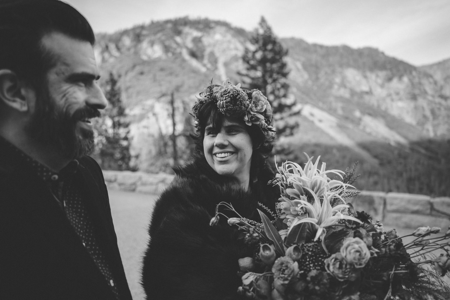 yosemite couple smiling