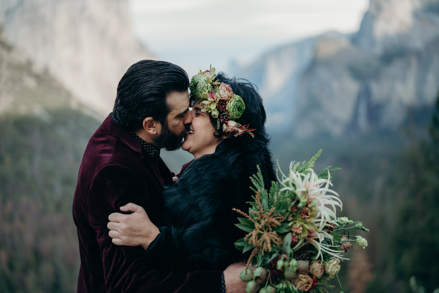 yosemite couple kissing