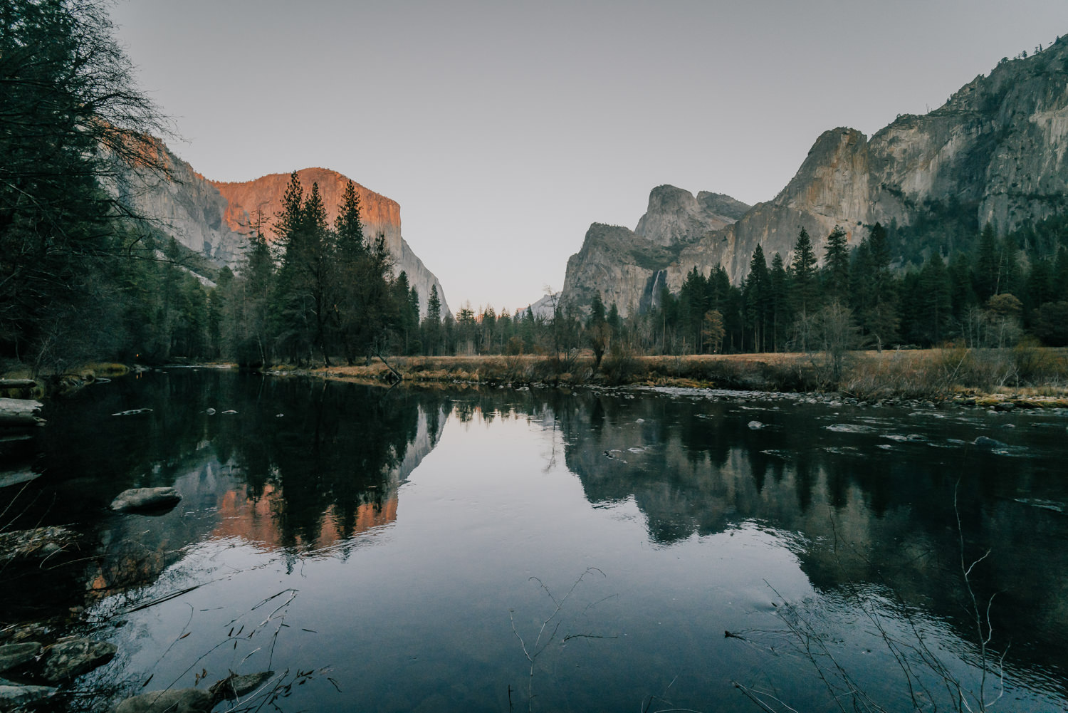 yosemite reflection sunset engagement session